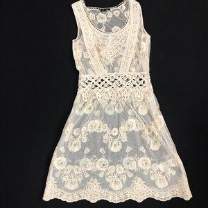 Massimo Dutti Sheer Ivory Lace Sleeveless Dress S